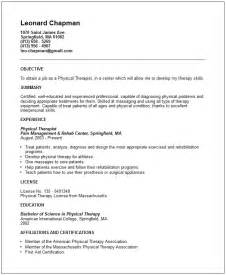physical therapy resume template physical therapist resume exle free templates collection