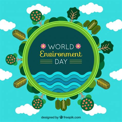environment day world environment day background with trees and clouds