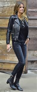 Got Herself A New Pair Of Boots by Heidi Klum Shows Exquisite Style In A Black Coat