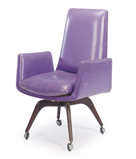 A Purple Leather Upholstered Desk Chair By Vladimir Purple Desk Chair