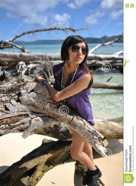 asian girl   beach stock image image  cute island