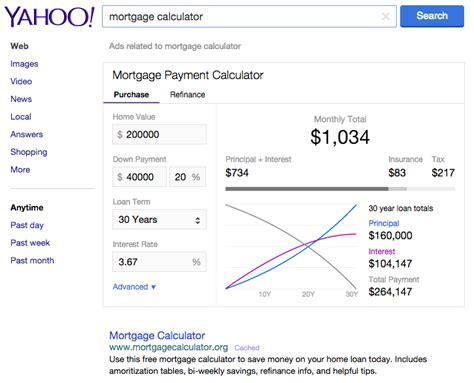 yahoo search adds a mortgage calculator