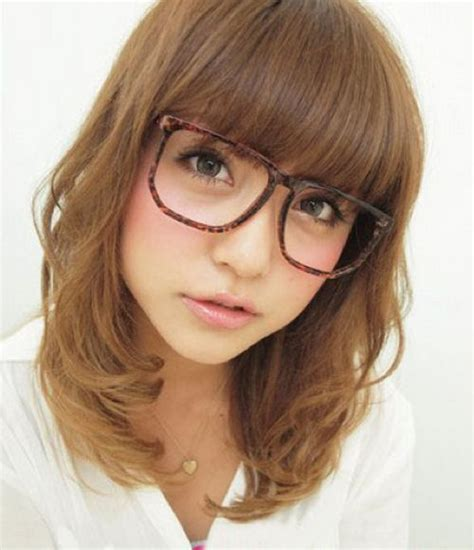 hairstyles with thick glasses cute korean japanese asian womens shoulder length wavy