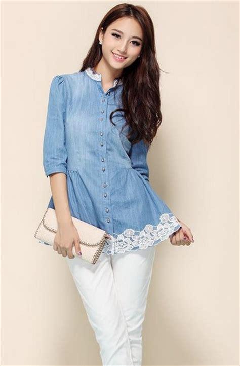Atasan Casual Abu Abu Hitam Katun Cina Korea Style til modis dengan baju atasan wanita bahan trend model baju terbaru 2016