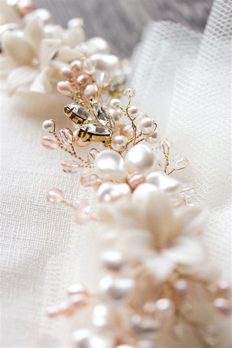 Wedding Headpiece White And Gold blushing a gold bridal headpiece for