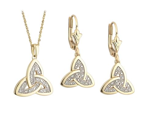 Set Necklace Earrings C73934 Gold celtic jewelry set knot earrings and pendant 14k