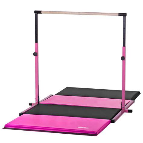 Gymnastics Bar And Mat Combo by Pink Adjustable Horizontal Bar 8ft Pink Black Gymnastics