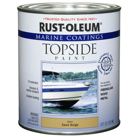 shop rust oleum topside paint quart size container exterior gloss marine sand beige base