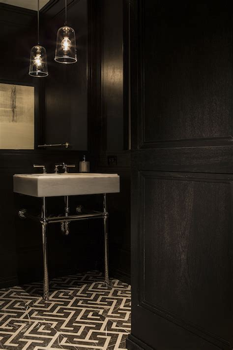 Waterworks Kitchen Faucets by Powder Room With Black And White Geometric Floor Tiles