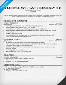 clerical resume objective exles resume template 2017