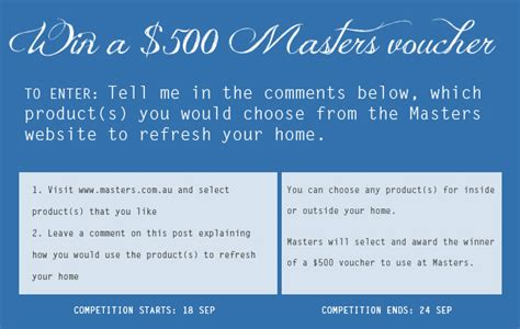 design competition terms and conditions ish and chi giveaway win a 500 masters voucher