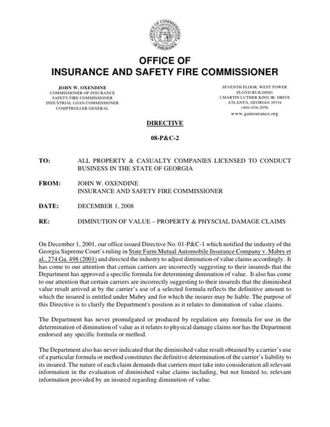 Insurance Valuation Letter Diminished Value Directive