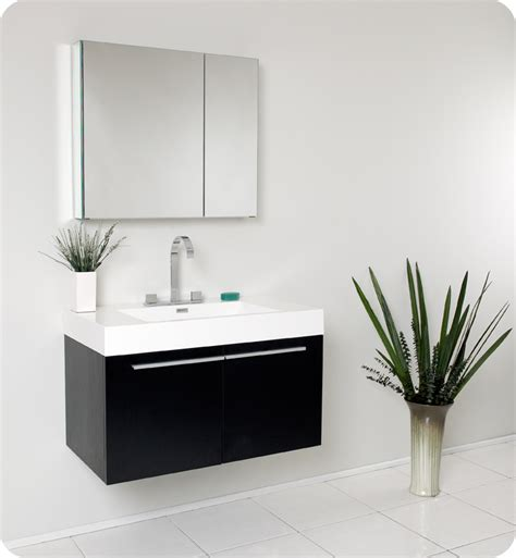 Black Modern Bathroom Vanity Fresca 36 Quot Black Modern Bathroom Vanity With Medicine Cabinet