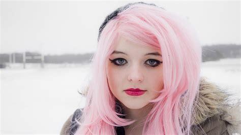 Full HD Wallpaper pink long hair winter mascara, Desktop