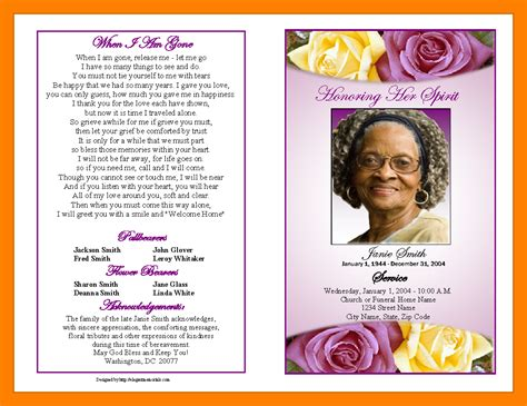 funeral leaflet template free 9 free obituary program templates st columbaretreat house