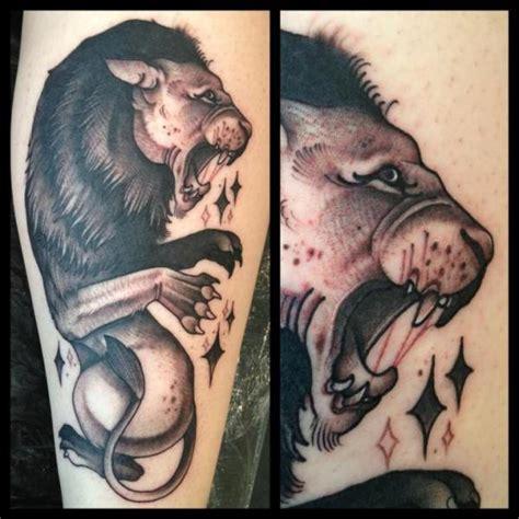 tattoo old school lion arm old school lion tattoo by mitch allenden