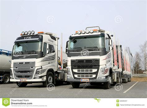 new volvo fh truck two modern volvo fh logging trucks editorial photography
