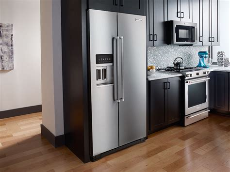 around the kitchen in the refrigerator light kitchenaid 22 6 cu ft counter depth side by side