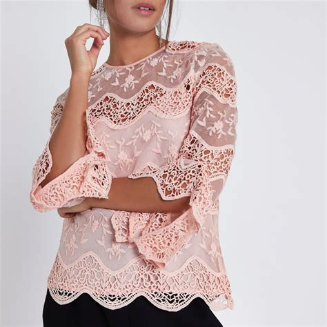 light pink womens light pink lace sleeve top blouses tops