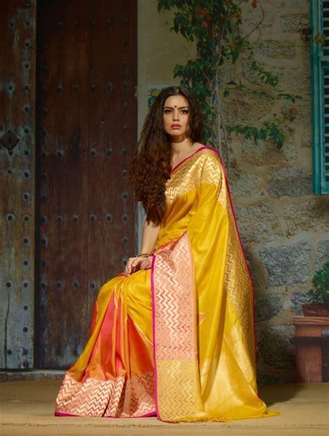 Exclusive Yellow Pure Silk Saree   Women's fashion