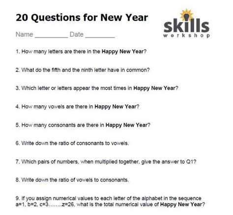 10 questions about new year quiz skills workshop