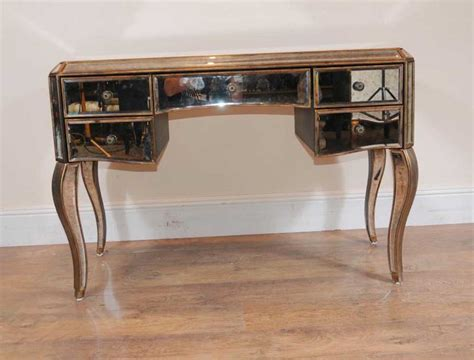 mirrored desk bureau plat writing table deco mirror