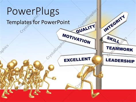 free leadership ppt themes powerpoint template gold plated 3d me running in the path