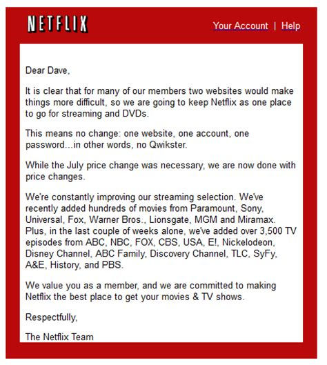 Apology Letter To For Insulting Netflix Reverses Course Decides Against Poorly Considered Split Up Usefularts Us
