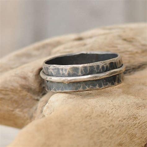 mens wedding band mens hammered silver wedding band