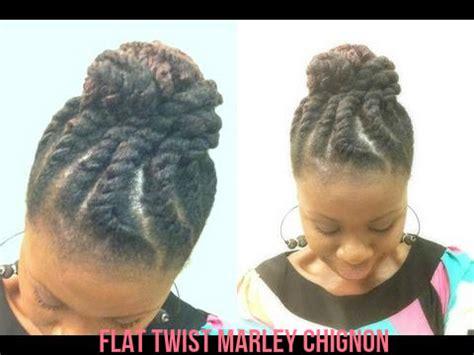 flat twist marley hair jumbo flat twist marley chignon on natural hair