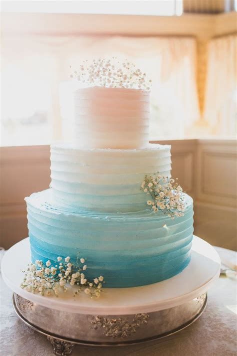 Wedding Cake Blue by Ombre Blue And White Tiered Wedding Cake
