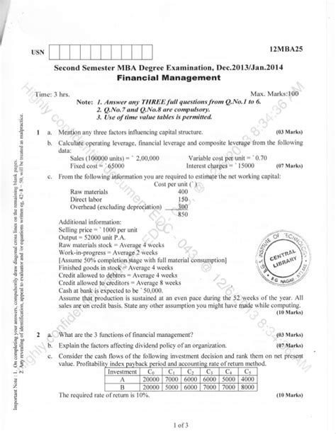 Financial Management Pdf For Mba 2nd Semester by 2nd Semester Mba Dec 2013 Question Papers