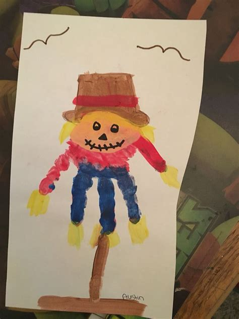 scarecrow pattern for kindergarten scarecrow handprint crafts with kids pinterest
