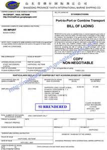 surrender bill of lading vietnam import and export