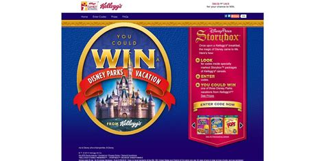 Disney Park Sweepstakes - kellogg s family rewards storybox vacation sweepstakes kfr com disneyparks win