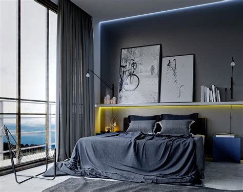Elegant mens bedroom ideas with artistic concept also long gray curtain also gray sheet and