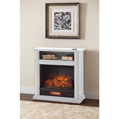 White Mantel Electric Fireplace by Hton Bay Ansley 32 In Rolling Mantel Infrared Electric