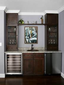 small beverage refrigerator with glass door modern tile mural in home wet bar modern family room