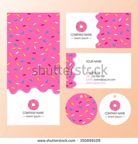 donut card template sweet corporate identity template design set stock vector