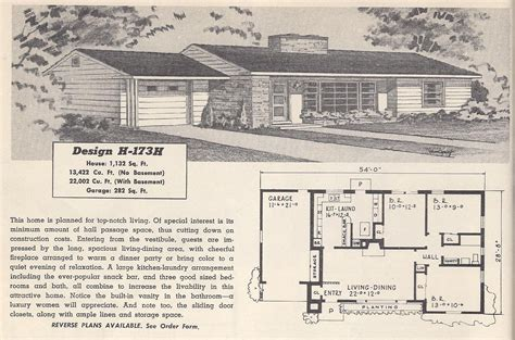 retro ranch house plans vintage house plans 173h antique alter ego