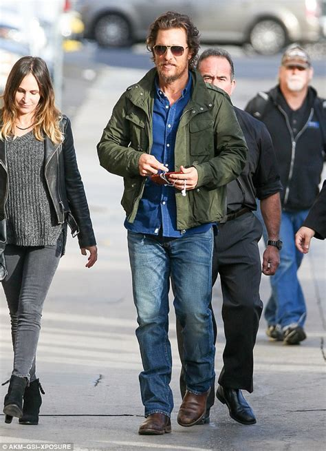 Matthew Mcconaughey Wears A Shirt While Working Outbig Bummer by Matthew Mcconaughey Arrives For Jimmy Kimmel Appearance