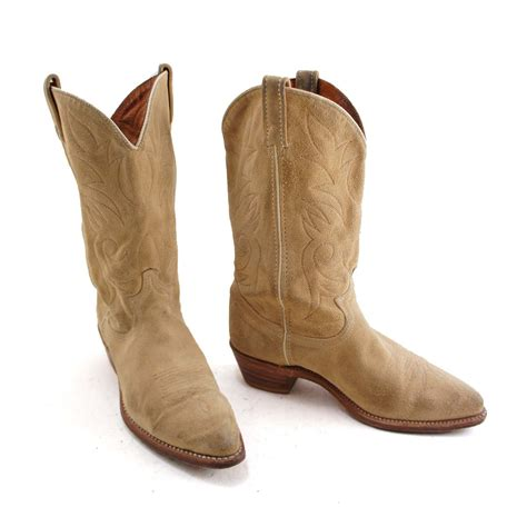 boho goes west suede cowboy boots by acme with decorative