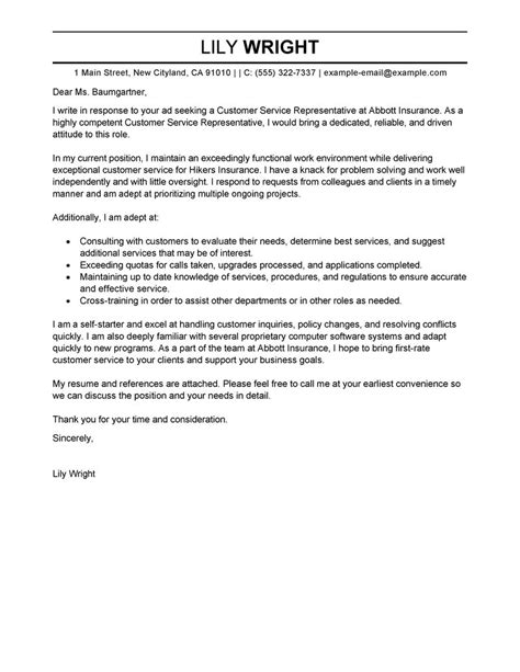 exle cover letter for customer service customer service representative cover letter exles