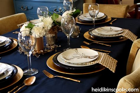dining table chargers table setting with gold and navy and antlers heidikins