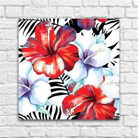 cuadro con flores cuadro flores tropicales rojas
