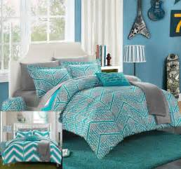 Complete Bedroom Bedding Sets 10 Pc Complete Bedding Set In Bag Teal Grey