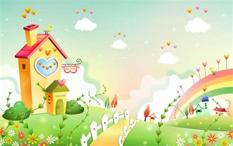 wallpaper rainbow cartoon spring landscape with rainbow wallpaper 20293 wallpaper