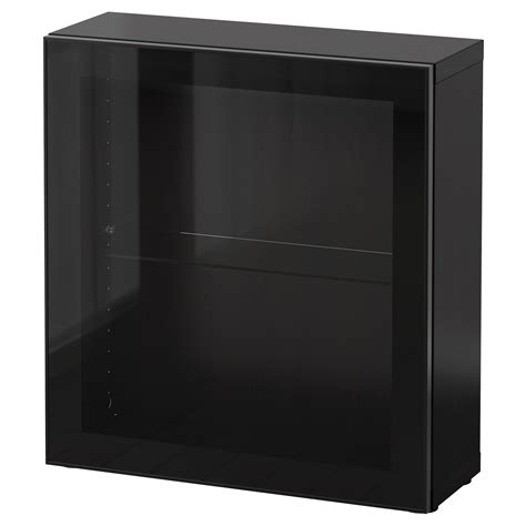 besta 60x20x64 best 197 shelf unit with glass door black brown glassvik