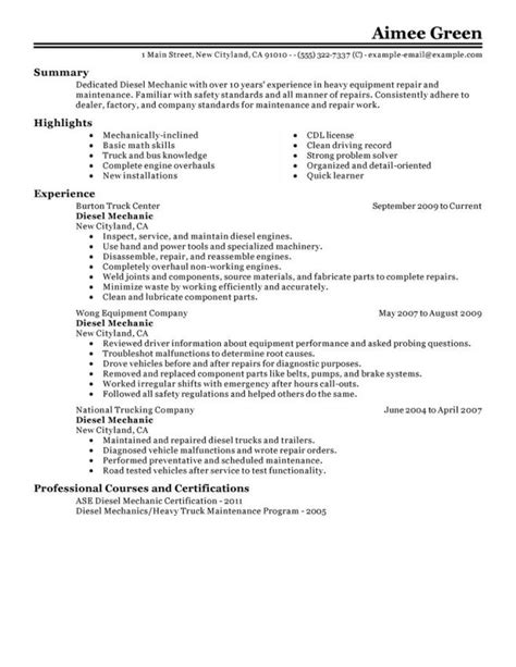 Heavy Equipment Mechanic Cover Letter by Diesel Mechanic Resume Exles Resume Sle Diesel Mechanic Resume Objective Diesel Mechanic