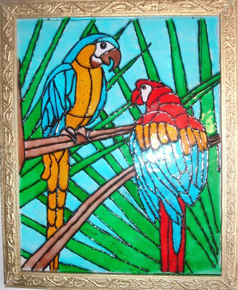 free glass painting glass painting of two parrots ereena flickr